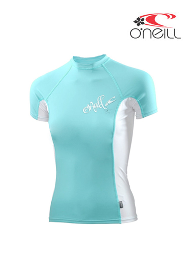 Girls skins - short sleeved crew - Age 8 (turquoise)