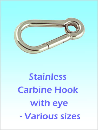 Stainless Carbine Hook with eye 100mm
