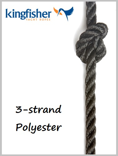 12mm - 3 strand polyester (Black)