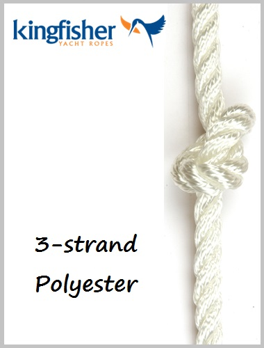 10mm - 3 strand Polyester white