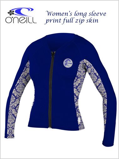 Long sleeve full zip womens print skin