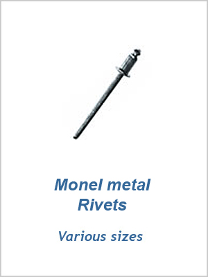 "Monel metal rivets 1/4"" x 1/2"" (6 x 13mm)"