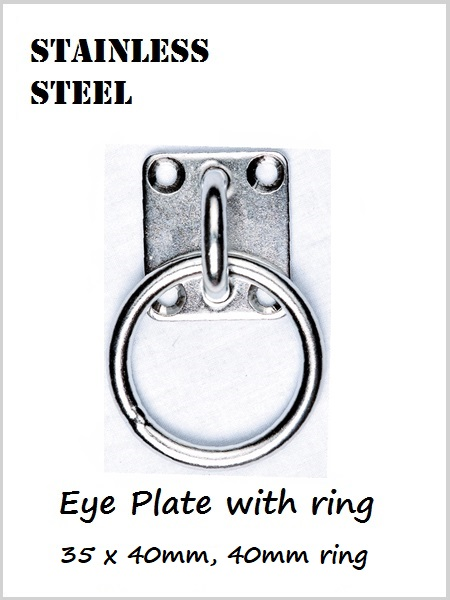 Stainless Steel Eye plate & ring 40mm x 35mm