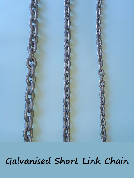 Galvanised Short Link chain 8mm - per metre