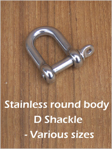 Stainless Round Body D Shackle - 4mm forged pin