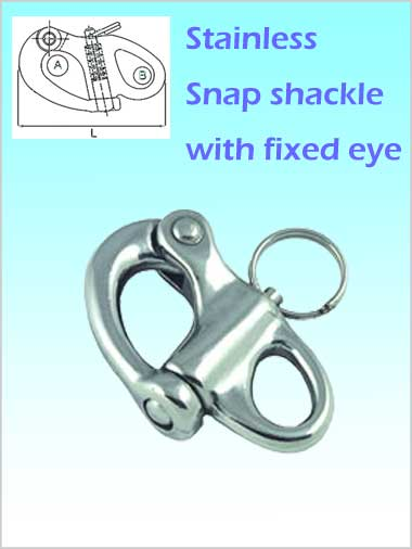 Stainless Snap Shackle - fixed eye 52mm